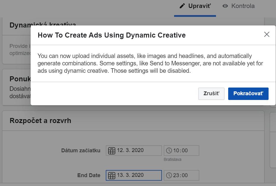 Možnosť zapnúť dynamickú kreatívu